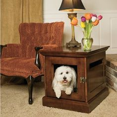 You could so easily repurpose an endtable to be a dog crate. Use it in the family room or bedside  (or a small dresser if I get my Dane!) this particular table is from Cabela's.