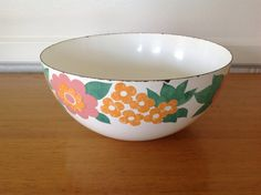 Finel Arabia Finland Enamel Bowl Floral by TheWelcomeTable on Etsy