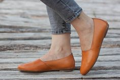 Camel Leather Shoes Camel Shoes Loafers Flat Shoes by BangiShop