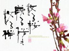 散る桜 残る桜も 散る桜 , some cherry blossoms are falling and the remaining blossoms are going to fall, too
