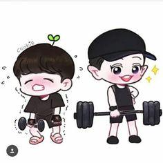 ChanBaek gym fanart by Cookie Baekhyun Fanart, Chanbaek Fanart, Exo Chanbaek, Exo Chanyeol, Kpop Fanart, Kyungsoo, Chansoo, Exo Ot12, Kpop Exo