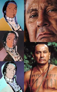 Russell Charles Means (Nov. 10, 1939 – Oct. 22, 2012) was an Oglala Sioux activist for the rights of Native American people, an actor, musician & author. He was active in international issues of indigenous peoples, including working with groups in Central & South America, and with the UN for recognition of their rights. He began acting with 1992's The Last of the Mohicans, at age 53. He released a CD in 1982, and wrote an autobiography in 1995. Andy Warhol painted 18 portraits of Means in 1976.