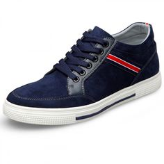 Korean elevator suede leather lace up casual shoes Increase Height 6cm / 2.4inch