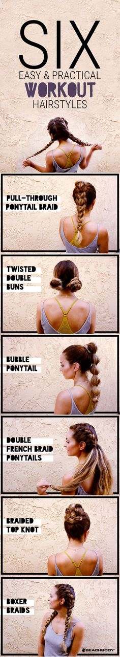 No matter what workout you're doing, hair in your face is a no-go. Here are 6 easy and practical hairstyles for working out that are more fun and creative than ponytails. // fitness // beauty inspiration // workout hairstyles // updos // hairspiration // hairstyle ideas // Beachbody // BeachbodyBlog.com