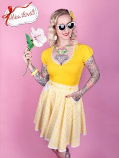 Happy Hour, Skater Skirt, Skirts, Summer, Vintage, Style, Fashion, Cotton Textile, Yellow