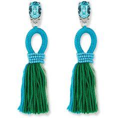 Oscar De La Renta Short Gradient Looped Tassel Earrings (10 370 UAH) ❤ liked on Polyvore featuring jewelry, earrings, blue, tassle earrings, earring jewelry, crystal bead earrings, crystal beads jewellery and blue tassel earrings