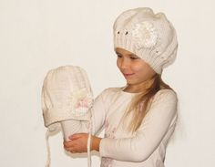 Handknit beret for girl white hat for toddler by iziknittings