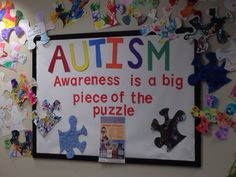 Autism Awareness bulletin board we created for the early childhood center where I teach. Each preschool classroom decorated a puzzle piece we provided and each was unique