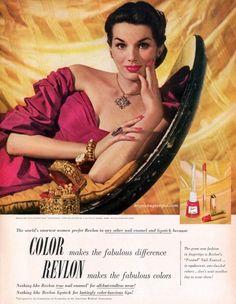 revlon nail enamel and lipstick a la vieille russie jewels 1951 Vtg Magazine Ad Vintage Nails, Vintage Makeup, Vintage Glamour, Vintage Beauty, Retro Vintage, Bourjois Cosmetics, 1950s Makeup, Makeup Ads, Revlon Lipstick