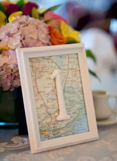 Travel Theme Ideas | Map Wedding Table Numbers from One Fab Day - mazelmoments.com