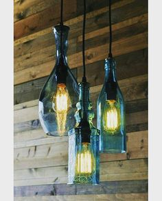 Old #glass #bottles with #edison #light #bulbs into beautiful pendant #lamps #upcycled #recycled