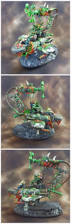 Warhammer 40k ork Big Mek on Bike with Shokk Attakk Gun. In this case, the gun and the bike are one in the same; this brave mekanik is riding an instable telyporta array into battle.