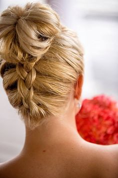 Maid of Honor Hair, Bridesmaid Hair, High Bun with braided back