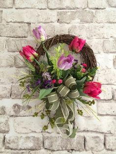 Tulip Spring Wreath Easter Wreath Spring by AdorabellaWreaths