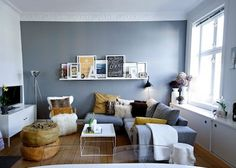 Grey lounge with mustard/tan accents