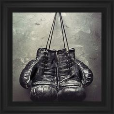 Boxing Gloves Framed Print, Black, Classic, None, None, Single piece, 16 x 16 inches, White