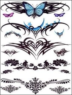 """Tribal Moon and Butterfly Temporaray Tattoo by Tattoo Fun. $5.95. This is a Temporary tattoo of all sorts of tribal designs with blue hearts, blue butterflies, and henna . All the images together measures approx 7 1/2"""" long x 5 1/2"""" wide."""