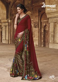 Maroon sari with floral print on pleats Maroon georgette printed Comes with matching unstitched blouse material Saree Blouse Patterns, Saree Blouse Designs, Indian Dresses, Indian Outfits, Saree Floral, Indian Sarees, Pakistani, Indian Clothes Online, Sari Dress