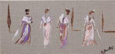 Peinture arlésiennes -Toile sur lin création 2014 : Peintures par kaobourillon