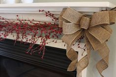 rustic natural christmas decorations | , Christmas bow, burlap decor, rustic bow, natural bow, mantel decor ...