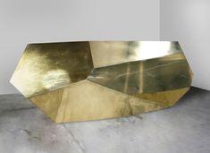 Brass Suprematist Desk | From a unique collection of antique and modern desks at https://www.1stdibs.com/furniture/storage-case-pieces/desks/