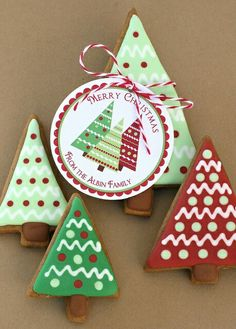 Modern Triangle Christmas Tree cookies, paperjack etsy