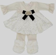 "Off White ""Holiday Splendor"" Infant or Toddler Swing Pants Set"