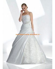2013 Romantische moderne Brautkleider aus Satin mit Schleppe und Applikation