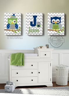 Boys wall art  Baby Nursery Decor  OWL canvas art  Owl by MuralMAX, $125.00