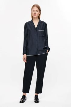 COS image 4 of Silk shirt with piping in Dark Navy
