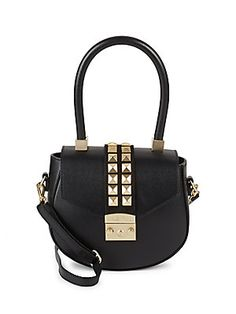 VALENTINO BY MARIO VALENTINO STUDDED LEATHER SADDLE BAG. #valentinobymariovalentino #bags #shoulder bags #hand bags #leather #crossbody #