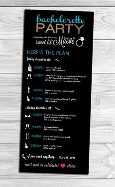 I created this custom Bachelorette Party Itinerary for a destination party in Chicago. #bacheloretteParty #bachelorettePartyItinerary