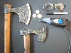 How to engrave a Viking Axe. Cold Steel ~ Cool Mods - YouTube