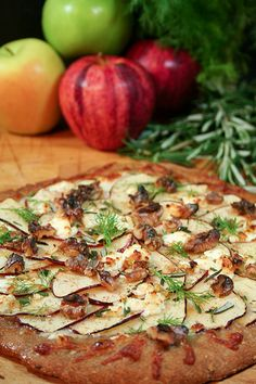 Apple, Goat Cheese, and Walnut Pizza recipe from The Healthy Foodie blog
