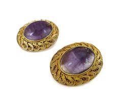 Chinese Export Amethyst Silver Vermeil Earrings  by zephyrvintage