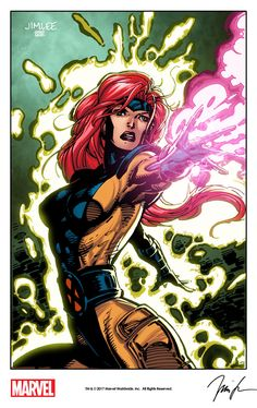 Jean Grey by Jim Lee from Impel's X-Men Trading Card Series (1992) remastered with digital colors by Israel Silva as a variant cover for Marvel's X-Men: Blue #7 (2017).
