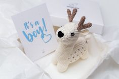 Baby boy pregnancy congratulations announcement gift box with   Etsy Crochet Deer, Hand Crochet, Crochet Toys, Pregnancy Congratulations, Congratulations Card, Baby Shower Gifts For Boys, Baby Boy Shower, Pregnancy Gifts, Boy Pregnancy