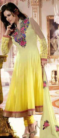 Shaded Yellow Faux Georgette Churidar Kameez with Dupatta Itemcode: KHS114B Price: US$ 95.04 Click here: www.utsavfashion.com/store/sarees-large.aspx?icode=KHS114B