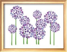 paint green stems with a brush. use dobbers to dot flowers