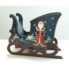 Christmas Sleigh Christmas Card Holder Vintage Sleigh Painted Santa... ($50) ❤ liked on Polyvore featuring home, home decor, wooden home accessories, wooden home decor and wood home decor