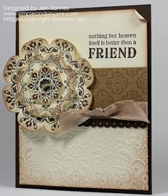 handmade card ... vintage look in cream and browns ... from Simple & Sincere: Daydream Medallions  ...Stampin' Up! ...