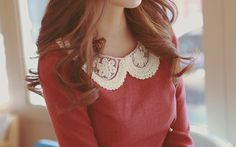 This is so perfect! The lacy collar is at just the right hight and the color is a perfect berry shade!