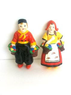 Dutch Boy and Girl With Tulips Vintage Ceramic Wall Hanging Retro Decor by Pesserae on Etsy