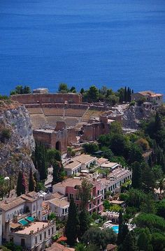 Greek Theatre in Taormina Sicily.  This view is so x million times gorgeous!
