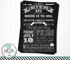 Barbeque Baby Shower Invitations  Bun In by cakeandpunchdesigns