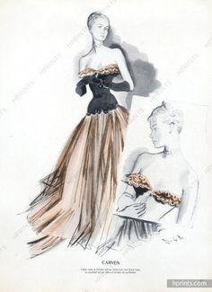 André Delfau 1947 Carven, Evening Gown