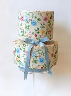 Amazing painted cake by Emily Hankins vintage style painted blue cake