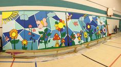 School mural the stained glass background part is cool!