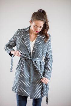Blue Printed Trench