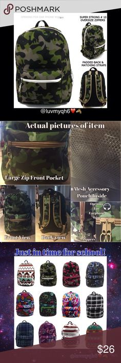 """🆕 Camo Print Backpack Plaid Print Backpack Perfect for all ages! Measures 17"""" x 12"""" x 6"""" with a large main compartment & front pocket. Max storage for books, folders, iPads etc...Made of 300HD polyester. A padded back, and back straps (adjustable)add comfort when handling the bag. Durable 10X zippers. On top of the bag is an opening for earphones and the mesh pocket inside can hold your phone while using your earphones. Designs may vary per bag! 1 left! Bags Backpacks"""
